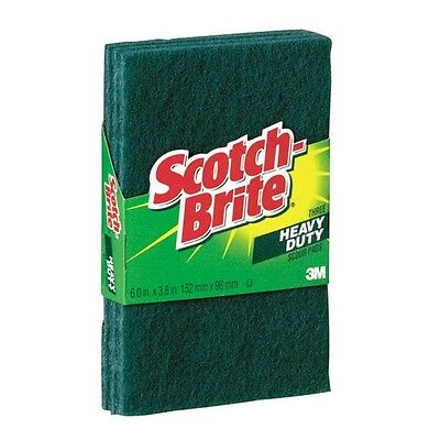"""Scotch-Brite Heavy-Duty Scour Pad, 3.8w X 6""""l, Green, 3/pack"""