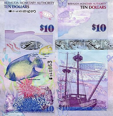 BERMUDA 10 Dollars Banknote World Paper Money Currency Pick p59 Note Fish Bill $