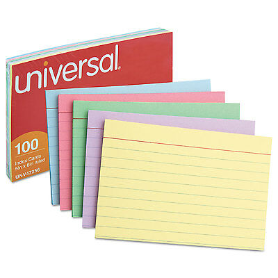 Universal Index Cards, 5 X 8, Blue/Purple/Green/Cherry/Canary, 100/pack