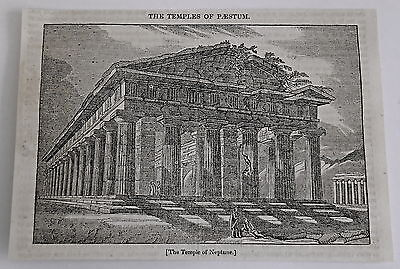 1832 magazine engraving ~ TEMPLES OF PAESTUM Temple of Neptune/Hera, ITALY