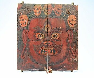 SCARCE Antique Fine Tibetan Doors Vajrapani and Skulls Bodhisattva 18th Century