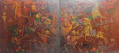 Antique Tibetan Large Doors Dancing Citipati Mythical Creatures 18th Century