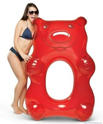 "BigMouth Inc - Giant 5"" FT  Red Gummy Bear Candy Inflatable Pool Float Raft Tube"