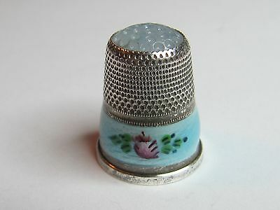 Opalescent Top -Pale Blue Enamel German Sterling Silver Thimble - (#115)