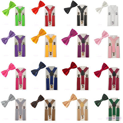 Suspenders Bowtie Bow Tie Matching Colors For Kid Toddler Boy Children BHHtr0003