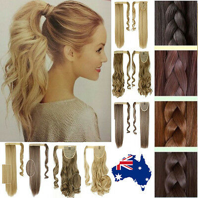 120G Wrap Around Ponytail Clip In Hair Extensions 17/23inch GradeA+ Fake Hair C0