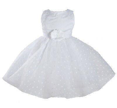 New White Wedding Party Flower Girl Pageant Dress 9-12 Months
