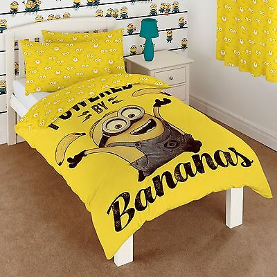 Despicable Me Minions Banana Single Duvet Quilt Cover Bedding Set Boys Girls New