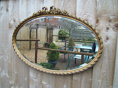 "Oval gilt wall mirror vintage bevelled glass 28"" x 18"" (71cm x 46cm) vgc  M11"