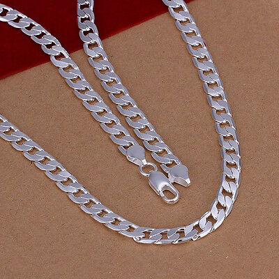 "Free Shipping Sterling Solid Silver 6mm*20"" Men's Chain Necklace N047"