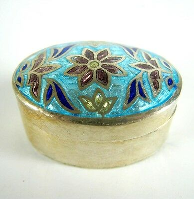 Emaillierte Dose / Pillendose aus 925er Sterling Silber Enameled Silver Pillbox