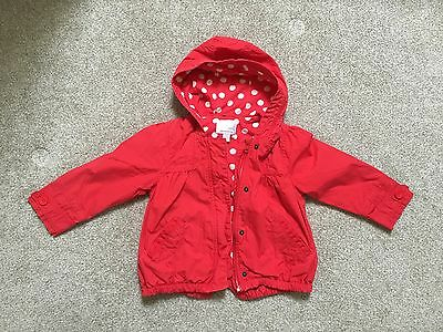 NEXT Cotton Girls Red Sping Hooded Linining inside Jacket  2-3 years