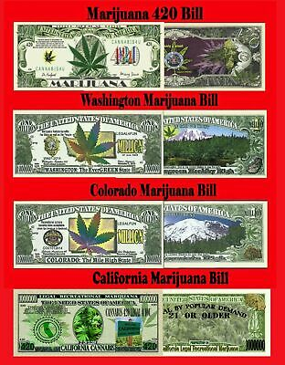 4 NOTE SET Marijuana Novelty 420 Dollar Bills (Washington-Colorado-Traditional)
