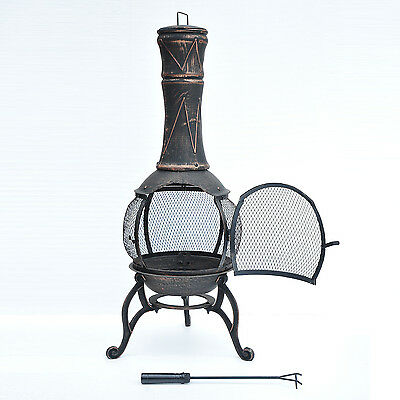 Outsunny Garden Fire Pit Outdoor Patio Heater Fireplace Backyard Burning Camping