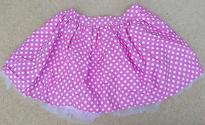 GIRLS Pink White Spotty Trimmed Elasticated Skirt Cotton Blend 7 Years