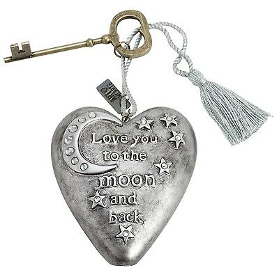 Enesco Demdaco Art Heart Love You To The Moon & Back Heart & Key Keepsake Gift