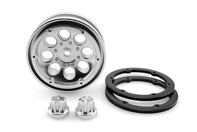 Axial 1.9 8 Hole Beadlock Scale Crawler Wheels x2 For SCX10 Satin Chrome AX8088