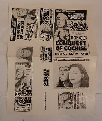 Original Vintage 1956 Conquest Of Cochise Advertising Movie Press Kit