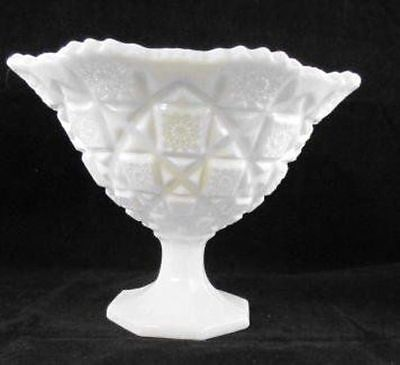 Vintage Westmoreland White Milk Glass Compote Footed Bowl ~Old Quilt ~1950s