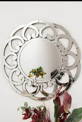 Large Modern Round Sophisticated Flower Design Venetain Wall Mirror 3ft (90cm)