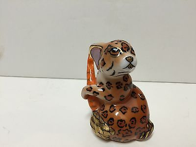 Lynn Chase Hollohaza Hand Painted Porcelain Leopard Rabbit Figurine FS