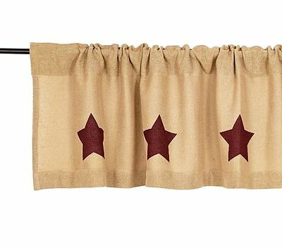 Burlap & Burgundy Red Star Window Valance : Primitive Natural Brown Country