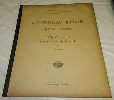 1912 USGS GEOLOGIC FOLIO #184/KENOVA Quadrangle/3 Full Maps/KY, WV, OH