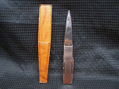 """Fancy 8 1/4"""" Noymer Stainless Letter Opener with Leather Sheath Knife & Clippers"""