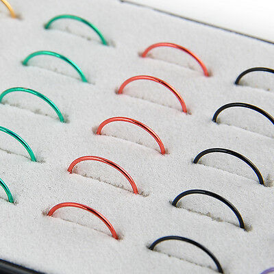 Women 40pcs/Box Multi-color Stainless Steel Nose Studs Ring Hoop Body Piercing