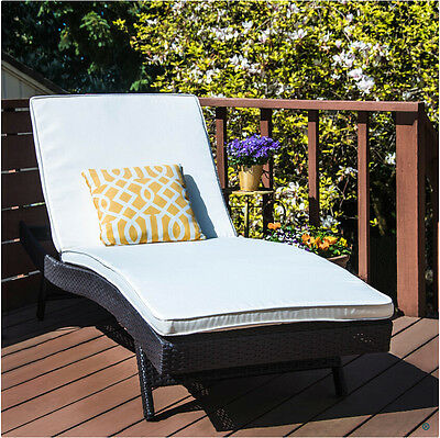 Outsunny Rattan Chaise Lounge Reclining Chair Wicker Garden Sofa W/ Cushion