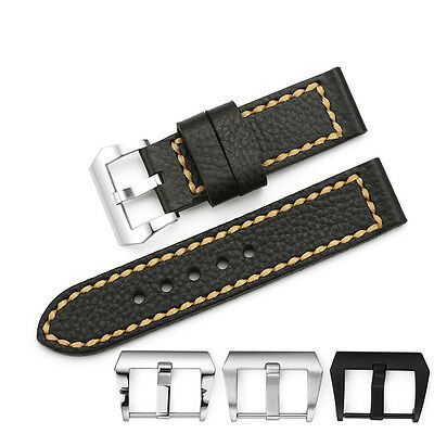 24mm Black Genuine Leather Watch Band Strap For Panerai Luminox PVD Deployant