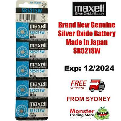 5 Pcs Maxell Sr521Sw 379 1.55V Silver Oxide Battery Made In Japan For Watch New