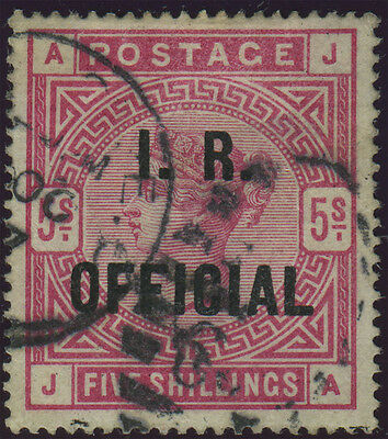 "SG O9 ""I.R.Official"" 5/- rose (J-A), fine used example with light duplex cancel,"