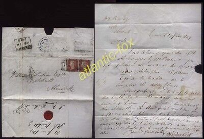 1849 1d Red PAIR on  letter EYEMOUTH Berwickshire to Alnwick