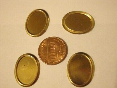12 VINTAGE BRASS PLATED STEEL 18x13mm. OVAL BEVELED EDGE SETTINGS 1103