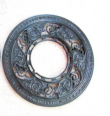 Vintage Black  Cast Iron Register Grate  Stove Old Shabby Round Garden 1897