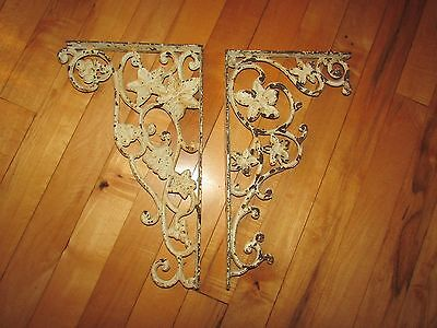 Large Architectural SET OF CAST IRON SHELF BRACKETS - SHABBY CHIC