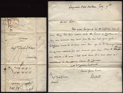 1834 ODIHAM posted letter Capt. Carleton, Greywell Hill to Alnwick