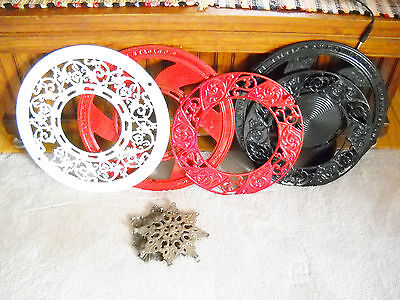 """Vintage RED """"IDEAL"""" Cast Iron Register Grate >Stove Old Shabby Round Garden"""