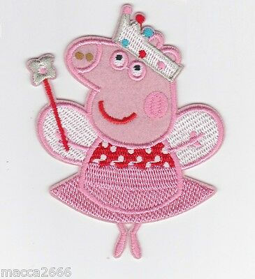 Peppa Pig Ballerina Iron Sew On Patch Embroidered Character Kids Applique Crafts