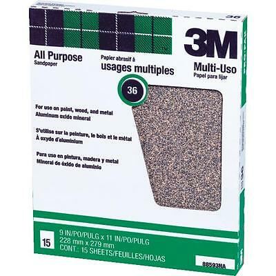 """15 Pack 36D Grit 9""""x11"""" All Purpose Production Sandpaper by 3M 88593NA"""