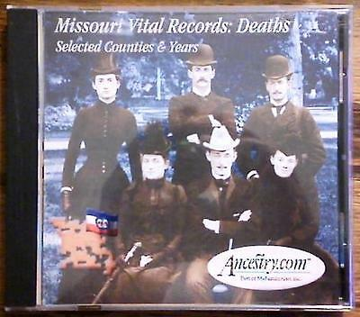 CD ROM ~ Missouri Vital Records: Deaths ~ Selected Counties & Years ~ Geneaology