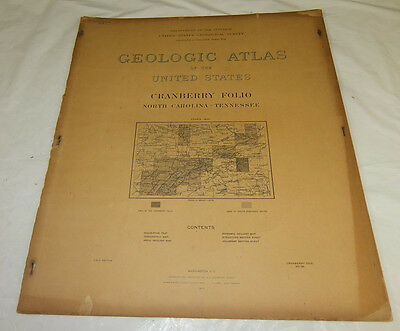 1903 USGS GEOLOGIC FOLIO No. 90/CRANBERRY Quadrangle/4 Full Page Maps/TN, NC