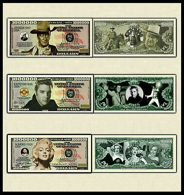 (3 Note set)  JOHN WAYNE-MARILYN MONROE-ELVIS MILLION DOLLAR BILL NOVELTY MONEY