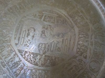 """Vintage Egyptian Etched Copper Table Tray Pharaohs Scene Hieroglyphics 27"""""""