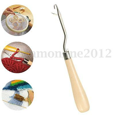 Wooden Handle Crochet Needle Latch Hook Puller Tool For Canvas Rug Mats Making