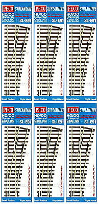 Peco Code 100 Oo/ho Electrofrog Small Radius Right Hand Point Bulk X6 Pesle91B