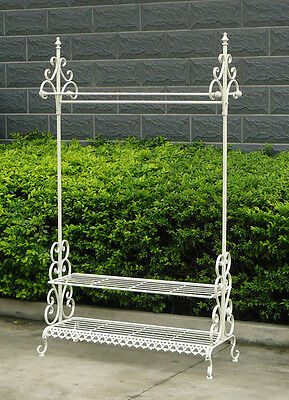 Charles Bentley Wrought Iron Clothes & Shoe Rack Coat Garment Dress Hanging Rail