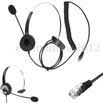 RJ11 Noise Cancelling Telephone Call Centre Monaural Headset Mic Office Operator