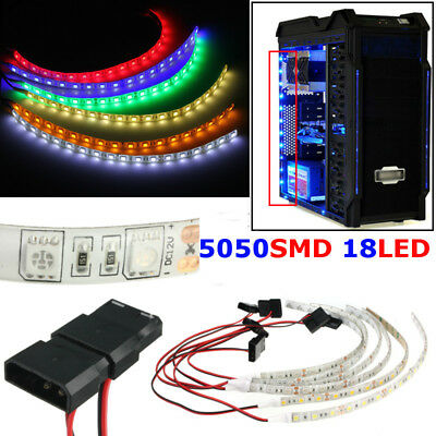 60cm 5050 18LED Flexible Strip Light Lamp For PC Computer Case DC 12V Waterproof
